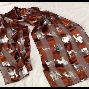 "Ladies scarf with numerous dog breeds 13""x60"" EUC"
